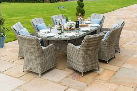 Maze Rattan Oxford 8 Seat Oval Ice Bucket Dining Set and Lazy Susan - Image 1