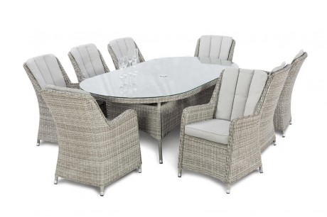Maze Rattan Oxford 8 Seater Oval Garden Dining Set with Venice Chairs white Up