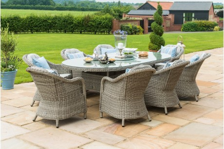 Maze Rattan Oxford 8 Seater Oval Ice Bucket Dining Set with Rounded Chairs and Lazy Susan - Image 1