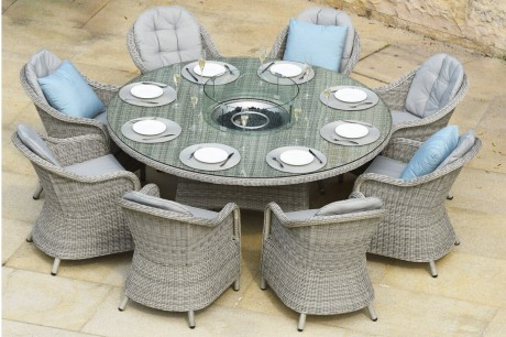 Maze Rattan Oxford 8 Seater Round Garden Furniture Set