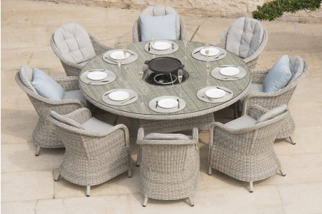 Maze Rattan Oxford 8 Seater Round Heritage Fire Pit Dining Set