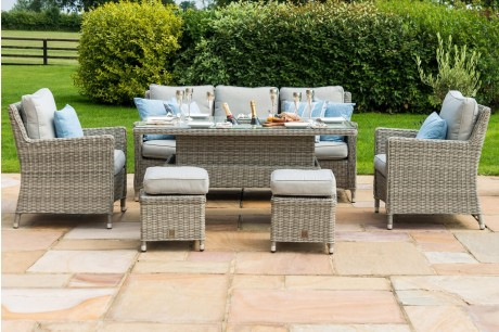 Maze Rattan Oxford Casual Sofa Dining Set with Ice Bucket And Rising Table With 3 Seater Sofa