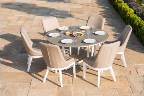 Maze Pacific 6 Seater Round Outdoor Fabric Dining Set In Taupe Colour