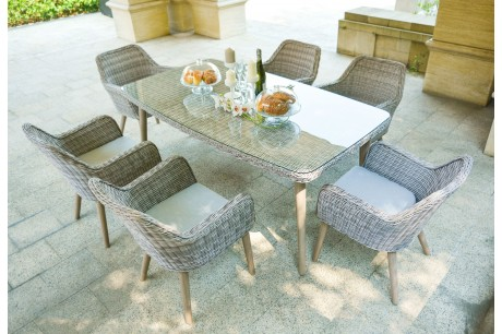 Maze Rattan Paris 6 Seat Rectangular Garden Dining Set
