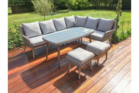Maze Rattan Paris Large Corner Sofa Dining Set