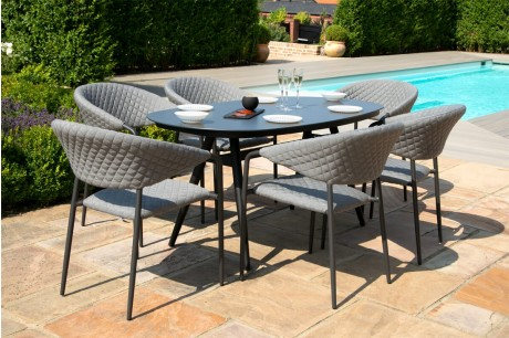 Maze Pebble Outoor Fabric 6 Seat Oval Dining Set - Flanelle