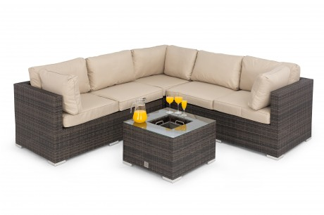 Porto Corner Sofa Set BROWN Flat Weave with Ice Bucket - Maze Rattan