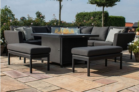 Maze Outdoor Fabric Pulse Deluxe Square Corner Dining Set With Firepit Table