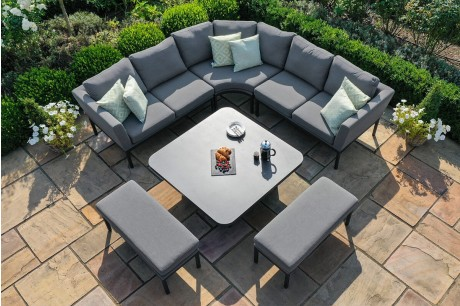 Maze Outdoor Fabric Pulse Deluxe Square Corner Dining Set With Rising Table