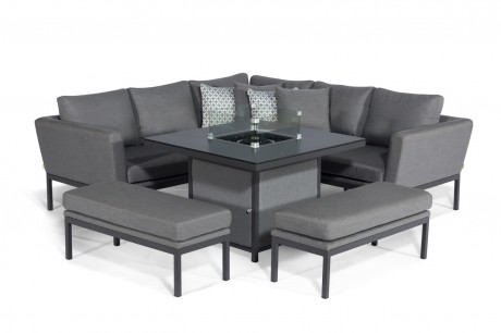 Maze Pulse Square corner Dining sofa Set With fire pit