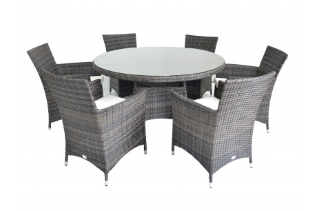 Maze Rattan Figari 6 Seat Round Dining Set In Brown Rattan Colour - Image 1
