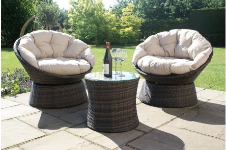 Maze Rattan - Swivel 2 Piece Lounge Chair Set - Image 1