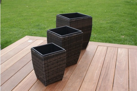Maze Rattan - Shaped Planter Set-Brown