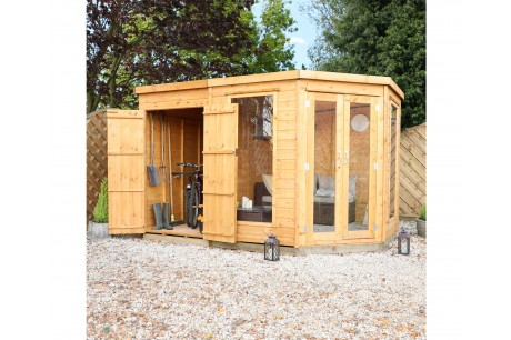 Mercia 11x7ft Wooden Corner Summerhouse with Side Shed Extension Left end side