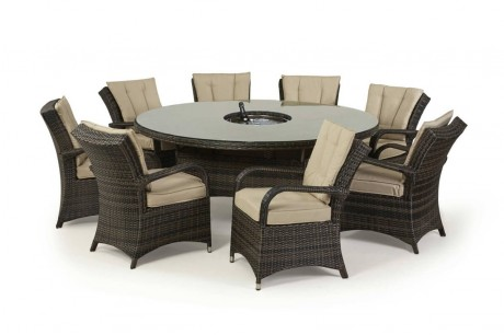 Maze Rattan Texas 8 Seat Round Ice Bucket Dining Set Wth Lazy Susan In brown Colour