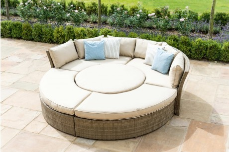Maze Rattan Tuscany Chelsea Lifestyle Suite Sofa Dining Set In Natural Colour