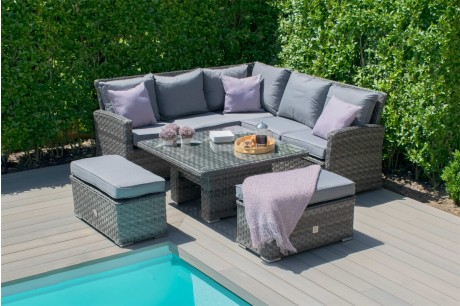 Maze Rattan Victoria Corner Bench Set with Rising Table