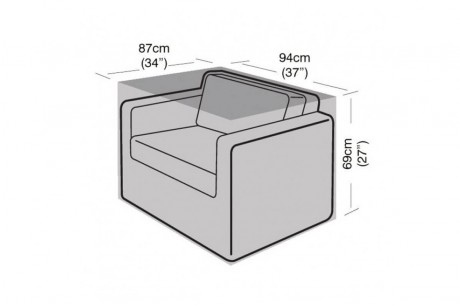 Single Armchair Winter Cover - Dimensions