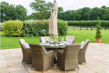 Maze Rattan Winchester Venice 6 Seater Oval Dining Set with Ice Bucket