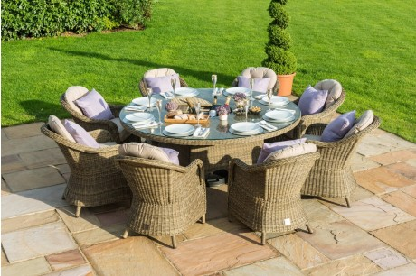 Maze Rattan Winchester 8 Seat Round Outdoor Furniture Set with 8 Rounded Chairs and Lazy Susan