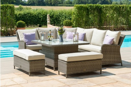 Maze Rattan Winchester Royal Corner Sofa dining Set with Square Rising Table