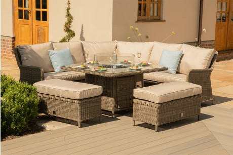 Maze Rattan Winchester Royal Corner Dining Sofa Set With Firepit Table