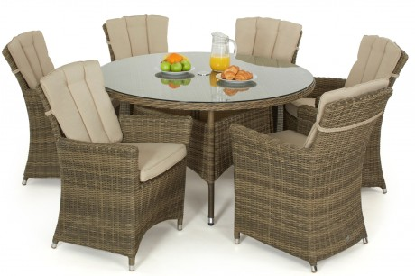 Maze Rattan - Winchester 6 Seat Round Dining Set with Carver Chairs