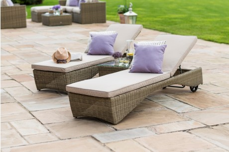 Maze Rattan  Winchester Sun Lounger set With Side Table - Image 1