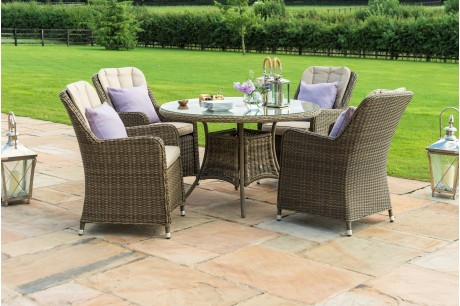 Maze Rattan - Winchester Venice 4 Seat Round Dining Set - Image 1