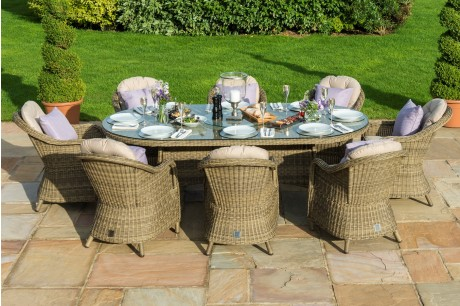 Maze Rattan Winchester 8 Seat Oval Ice Bucket Dining Set with Rounded Chairs and Lazy Susan - Image1