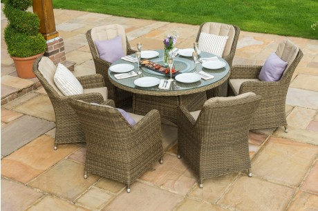 New Maze Rattan Winchester 6 Seat Round Ice Bucket Dining Set & Lazy Susan - Image 1