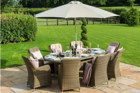 New Maze Rattan Winchester 8 Seat Oval Ice Bucket Garden Furniture Set with Venice Chairs and Lazy Susan