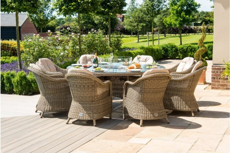 Maze Rattan Winchester Heritage 8 Seat Round Dining Set Witn Fire Pit