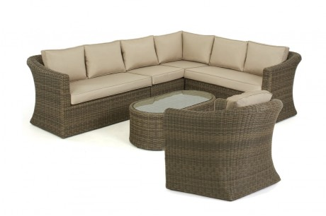 Maze Rattan Winchester Large Corner Sofa Set with Armchair White Up