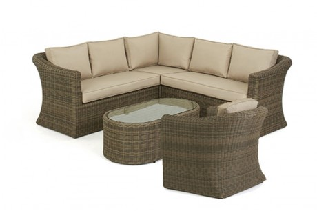 Maze Rattan Winchester Small Deluxe Corner Sofa Set with Armchair