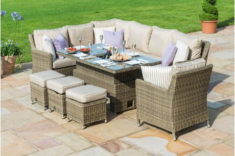 Maze Rattan Winchester Venice Corner Sofa Dining Set With Ice Bucket And Rising Table -Image 1