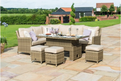 New Maze Rattan Winchester Venice Corner Sofa Dining Set with Rising Table With 3 Footstools - Image 1