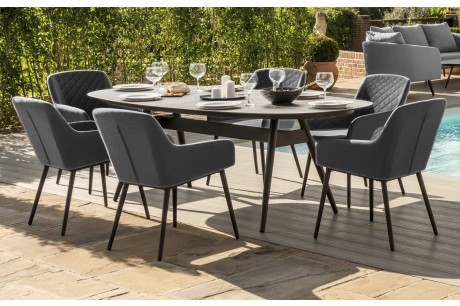 Maze Zest 6 Seater Oval Outdoor Fabric Dining Set In Grey Colour