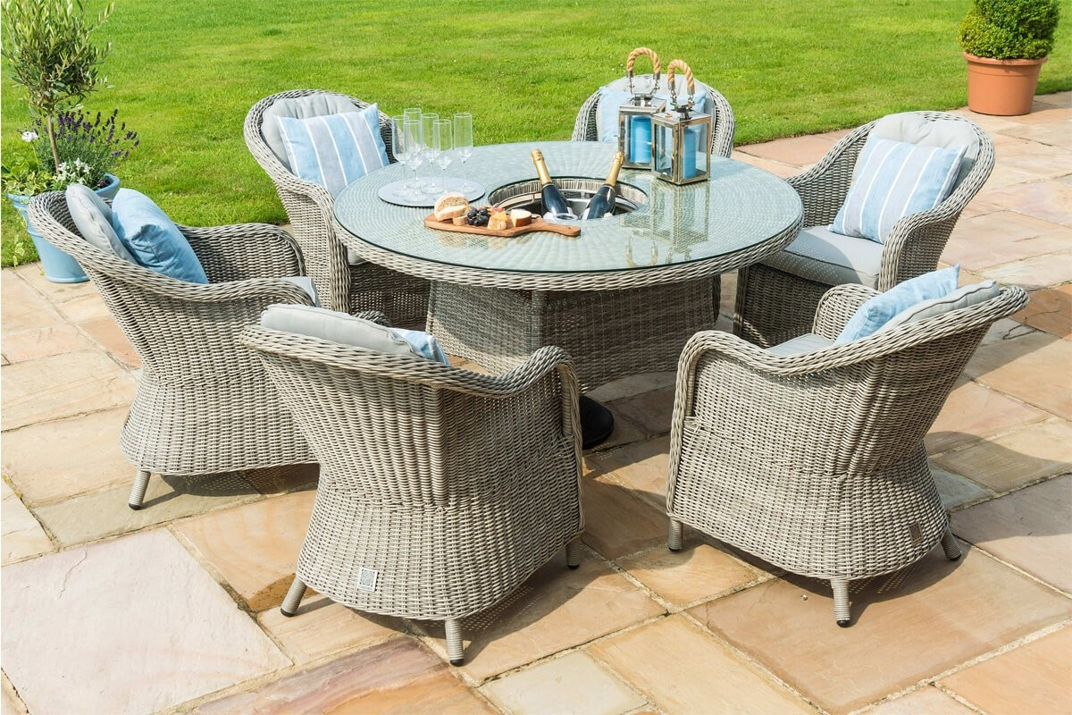 Maze Rattan Oxford 9 Seat Round Ice Bucket Dining Set with Heritage Chairs