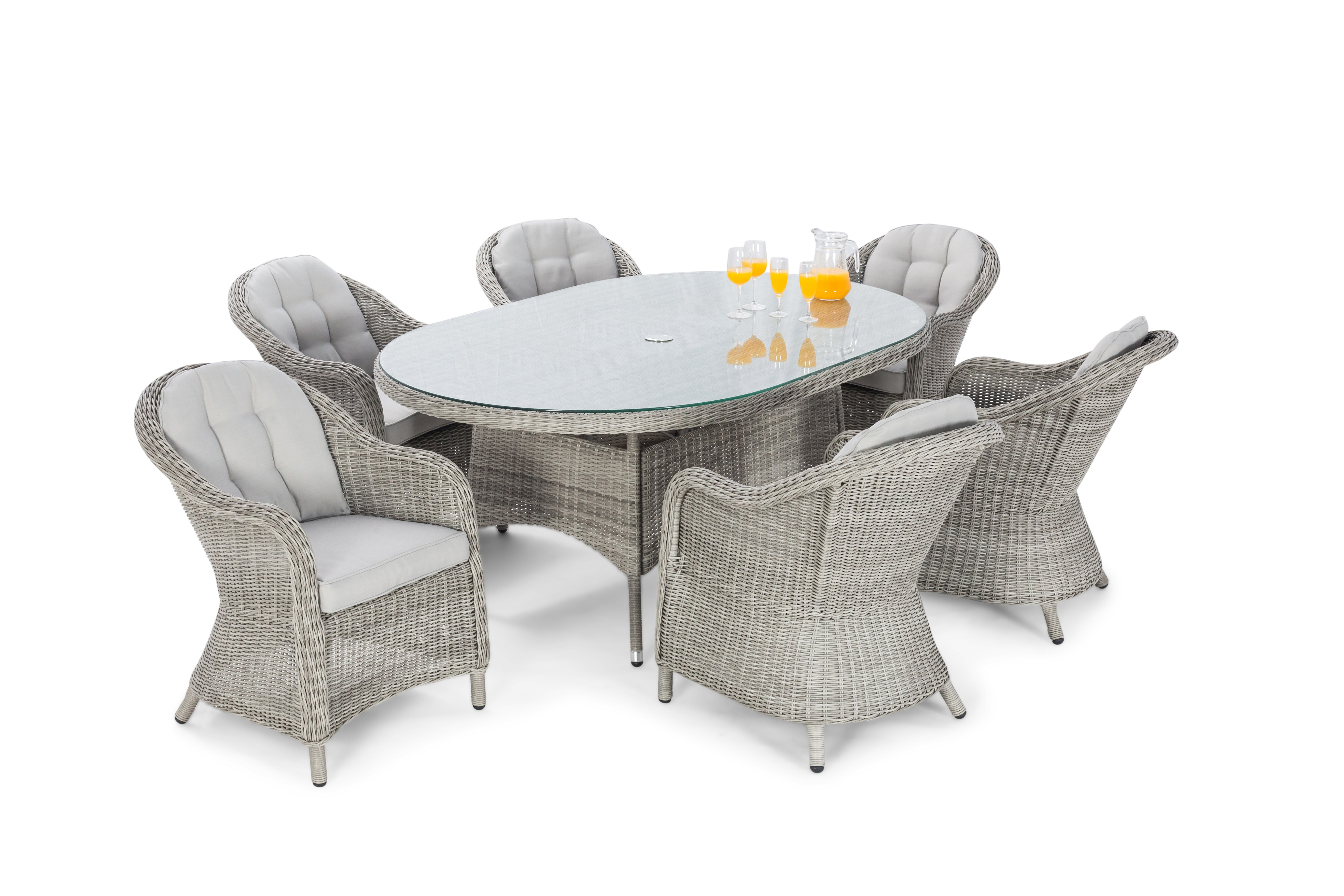 Maze Rattan Oxford 6 Seat Oval Dining Set With Rounded Chairs