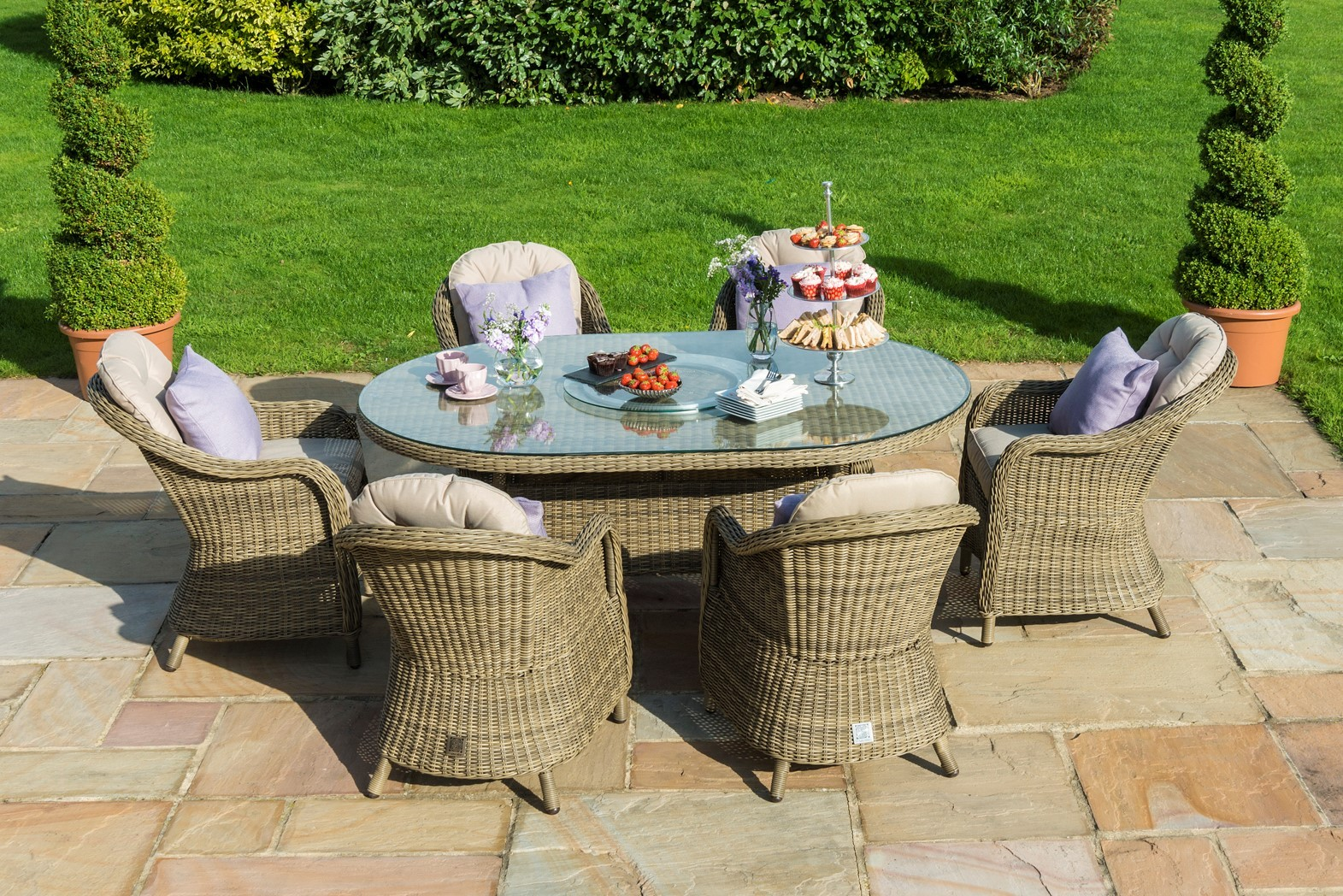 New Winchester 6 Seat Oval Dining Set With Rounded Chairs