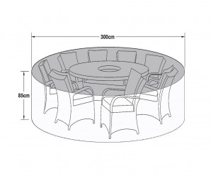 Maze Rattan 8 Seat Round Garden Dining Set Garden Furniture Cover - Winter Cover Dimensions