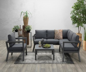 Vegas Garden Corner Sofa Set With Armchair - Charcoal Colour