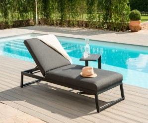 Maze Allure Outdoor Fabric Sun Lounger In Dark - Charcoal Colour