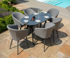 Maze Ambition 6 Seat Oval Dining Set in Flanelle 1