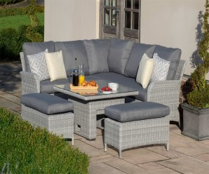 Maze Rattan Ascot Square Garden Corner Dining Set With Rising Table