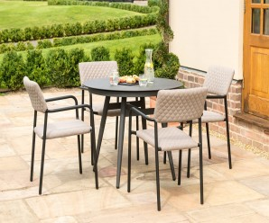 Maze Bliss 4 Seat Round Dining Set in Taupe colour