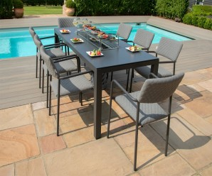 Maze Bliss Outdoor Fabric 8 Seat Rectangular Garden Dining Set With Fire Pit