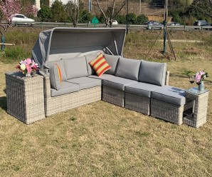 Cambridge Deluxe Canopy Garden Sofa Set With Side Table Ice Bucket