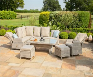 Maze Rattan Cotswolds Reclining Corner Sofa Dining Set With Rising Table